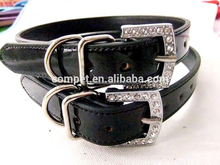 Best Selling and Best Price Black Metallic Finish PU Leather Dog Collars with DIY Slider Straps