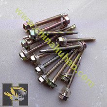 Yellow zinc coated full thread hex head self-drilling screw with PVC washer