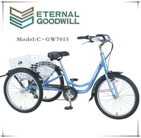 Richshaw pedal cargo tricycle with 24 inch folding basket outer 7speeds cargo tricycle GW 7015