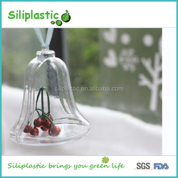Hot selling 85mm clear decoration design bell shaped hollow plastic bouncing balls