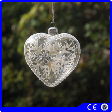Customized heart shape clear painted glass baubles christmas ball ornament christmas gift