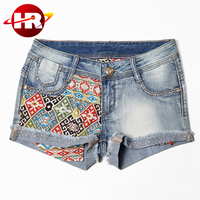 Famous brand name fashion style sex women girls short jeans with printed panel