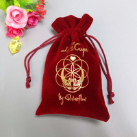 Custom red velvet gift pouch with hot stamping ,velvet bag,velvet bag with logo