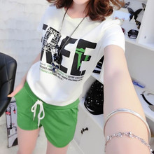 Apparel T-Shirts Women's short-sleeved summer new color printing T + Leisure Sports Shorts Set