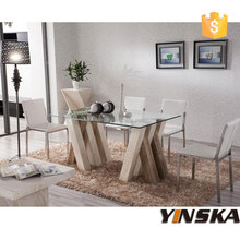 luxury furniture modern glass top marble base dining table for 6 seaters