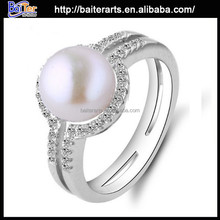 Top Quality Micro Pave Women Natural 925 Sterling Silver Pearl Rings