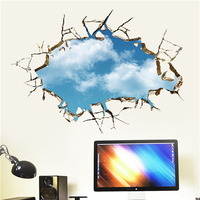 Colorcasa removable wall sticker PVC wall paper ZY039 sky broken wall 3D wall sticker art home decor for living room
