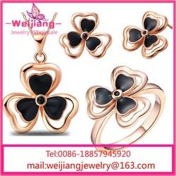 G193 crystal stud earrings alphabet crystal necklace earrings ring emerald necklace earrings set