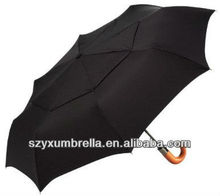 Auto Open & Close Modern Class Curved Wood Handle umbrella