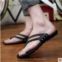 2015 New Style Fashion man Slipper with genuine leather Material and spell Pattern Beach Flip-flops Slippers