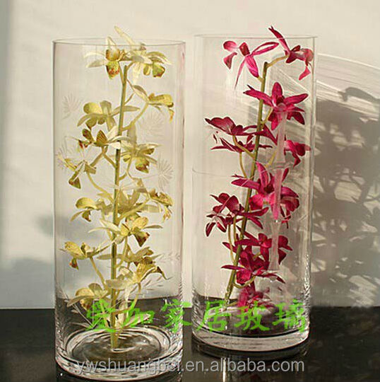 Grand Vase De Cristal Cylindrique En Verre Fait 224 La Main