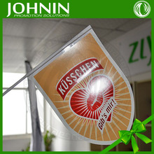 hot sales eco friendly artpaper material fast produce triangle size printing high quality advertising shaking hand waving flag