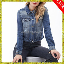 2015 Latest young girl's short denim jean jacket wholesale