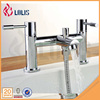 Dual handle polished chrome deck mounted waterfall bathtub faucets
