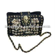 Skull Stud Black PU Clutch Bag