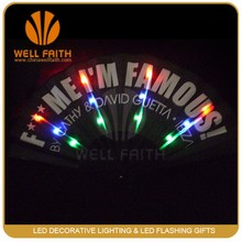 LED promotion flashing paper craft hand fans, led hand held fan with logo printing, LED flashing paper fans Wedding Favors