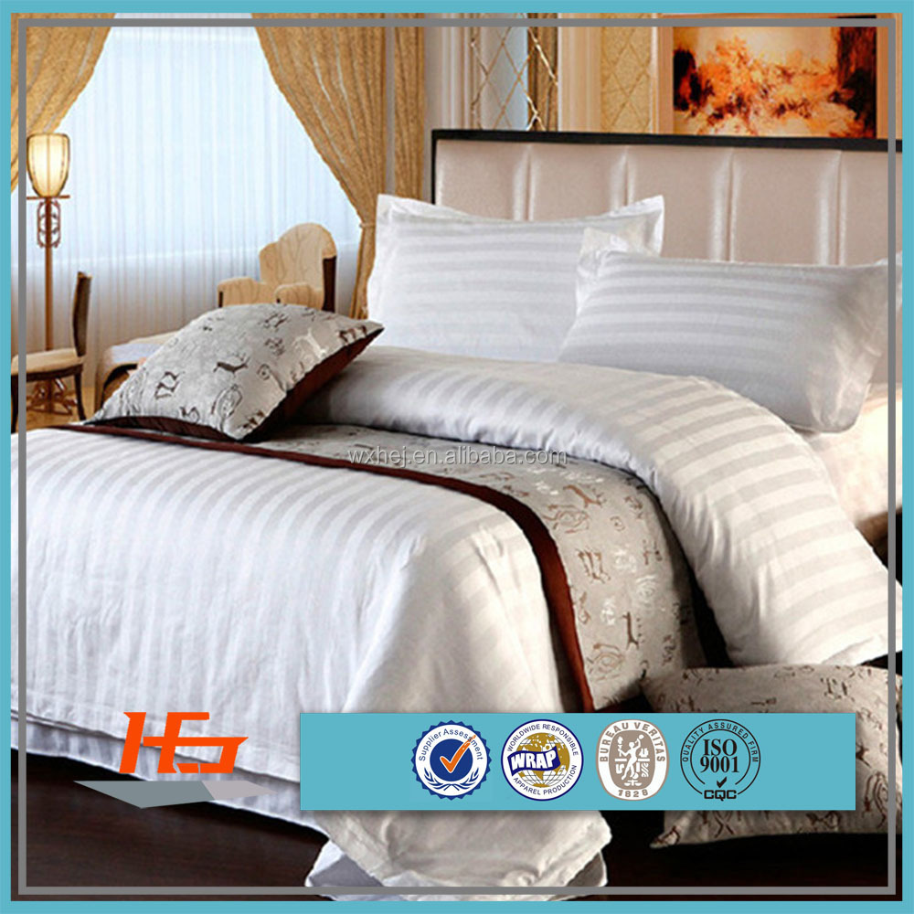 High Quality 100 Cotton 3cm Stripe Hotel Bedding Set