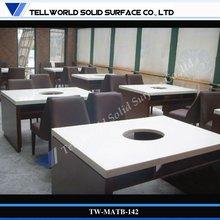 modern design table for restaurant, restaurant hot pot table/dining table white