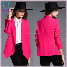 Women's 100% Polyester Fabric Soft Silk Smooth Style Black/Pink Asymmetrical Short Coat/OL Outwear/Ladies Small Leisure Suit