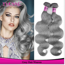 Factory supply 100% brazilian cheap remy hair extensions grey human hair weaving