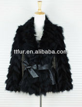 TT859 Rabbit fur &fox fur coat for women, women real fur black color