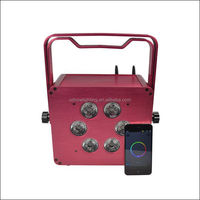 Pink Battery Powered Flat LED PAR Light with Wireless DMX and 2.4G Wifi Control