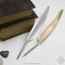 goose feather/turkey feather dip pen,ball pen,golden goose feather pen