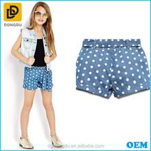 Fashion darling dots print chambray shorts for girl/kids