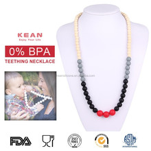 Flashing silicone teething necklace metal black pearl necklace