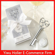 2015 hot cheap metal key shaped bottle opener wedding favor