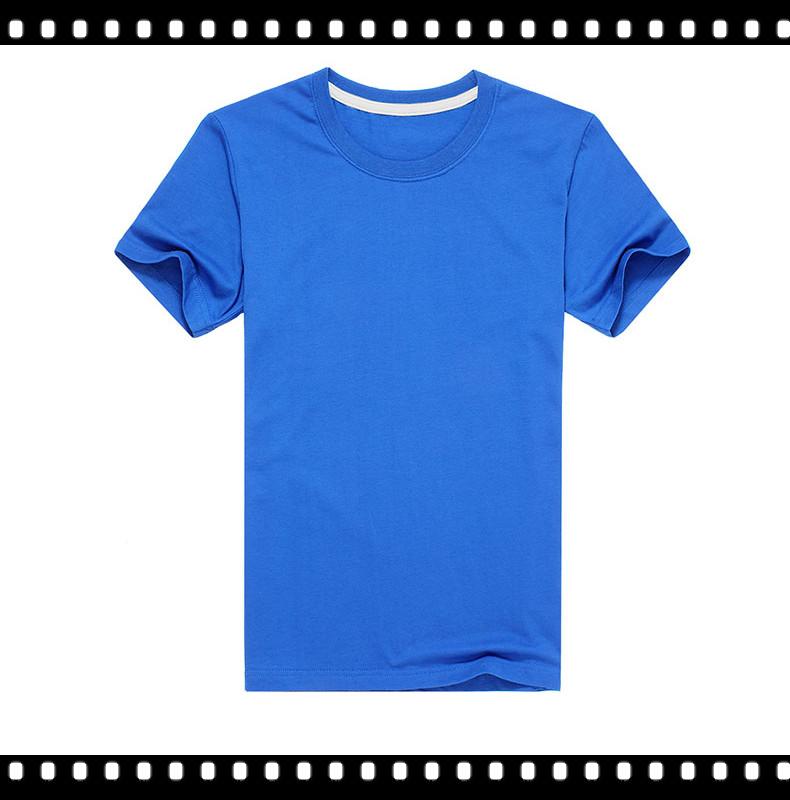 Crew cut men blue plain t shirt collar with high quality for High quality plain t shirts wholesale