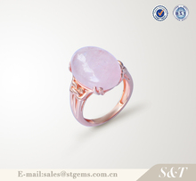 Hot selling value 925 silver latest stone fashion ring with pink stone