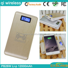 12000mAh wireless charger with USB cable micro USB cable & lighting smart slim qi power bank biyond