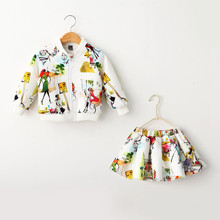 TG048 long sleeve autumn and winter wholesale girl jacket skirts matching printed children suits
