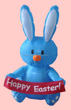 100cm high inflatable BLUE Bunny with scroll