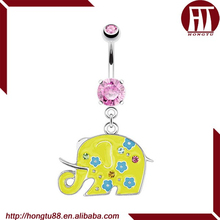 HT Pink CZ gem Decorative Elephant With Yellow Enamel Plating Dangle Belly Barbell Ring Navel Jewelry