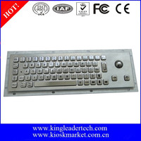 Compact size panel mount keyboard with integrated optical trackball