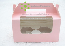 2015 Wholesale Customizable Colorful Paper 2 Cupcakes Boxes With Clear Window