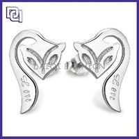 high class earring, stud diamond earring screw back, fox shape silver earring