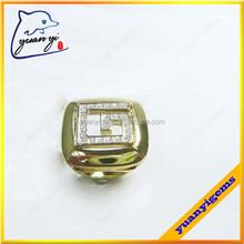 square shape white rhinestones paving new design gold finger ring for men and women