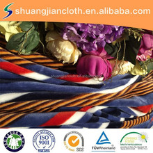 Red ,Blue And White Strip Design Factory Flannel Fabric For Sofa For Home textile/JLFL-105
