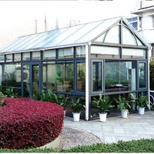General Style aluminum frame glass sun room with sliding windows and casement doors