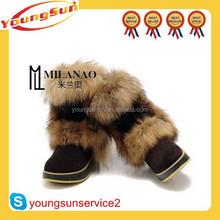 High quality warm fashion women fox fur snow boot