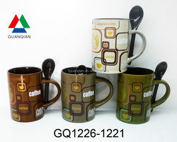390ml custom print mugs stoneware inside brown with spoon and food safe