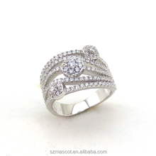 CZ Diamond Jewelry Unique Big Shaped Ring Indian Filled Engagement/Wedding Cooper Rings