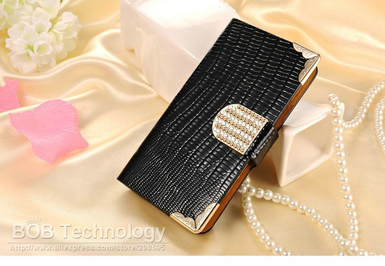 Bling Wallet PU Leather Case For Motorola Moto G XT1028/XT1031/XT1032 Luxury Phone Bag Shining Rhinestone Cover Card Slot Black