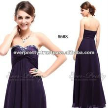 HHE09568PP Rhinestones Ruffles Purple Crystal Beads Prom Evening Dress