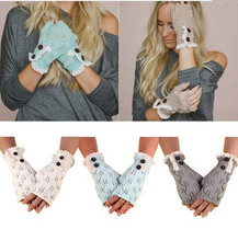 Winter Lace Fingerless Gloves For Women Corchet Leaves Pattern Hollow Out Style Mittens