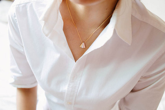 2014-Fashion-18k-Gold-3-color-triangle-necklace-bridesmaid-gift-Free-Shipping (4)