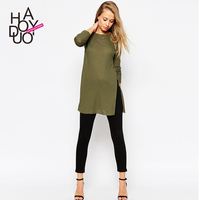HAODUOYI Women Autumn Fashion Long Sleeves Knitted T-shirts High Split Loose Tees for Wholesale